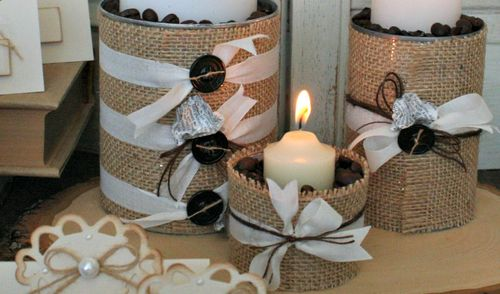 Fall burlap candles